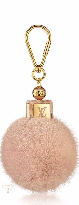bag bag charm charm puffy fluffy gold pink louis vuitton keychain fur keychain fuzzy ball keychain bag accessoires