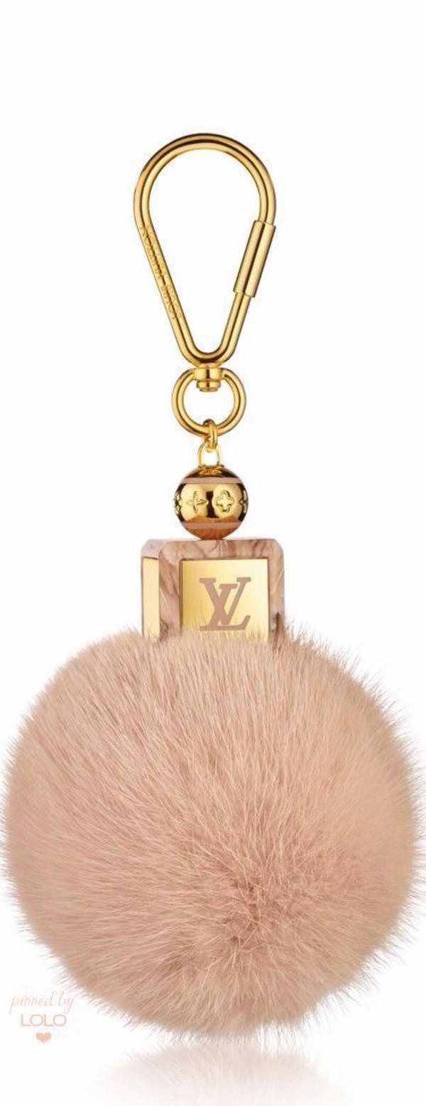bag bag charm charm puffy fluffy gold pink louis vuitton keychain fur keychain fuzzy ball keychain bag accessoires