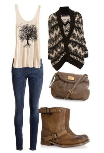 tank top white white tank top graphic tee graphic tank top cardigan shirt t-shirt t-shirt bag sweater boots skinny jeans brown black cardigan blouse fall shirts skirt style tree shoes