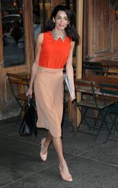 top,blouse,skirt,amal clooney,midi skirt,shoes,pumps,spring outfits