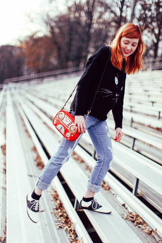 the clothes blogger sweater cats derbies red bag ripped jeans jeans bag shoes