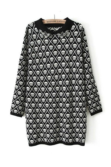 Personality Skull Pattern Knitting Dress [FXBI00476]- US$ 39.99 - PersunMall.com