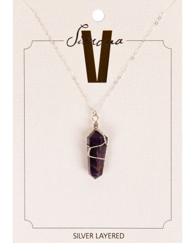 Simona v amethyst point silver necklace