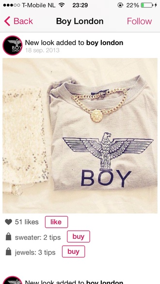 sweater boy boy london london boy london hoodie chanel jewels