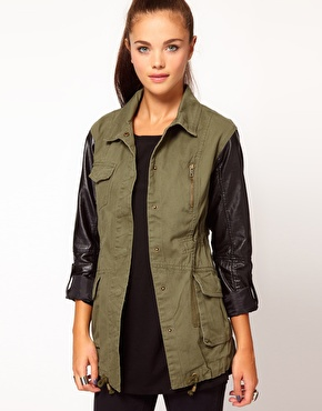 River Island | River Island Leather Look Sleeve Army Jacket at ASOS