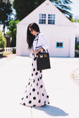 hallie daily blogger dress bag jacket sunglasses make-up