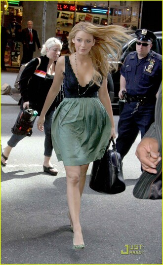 dress mini serena blake lively gossip girl blue dress green dress
