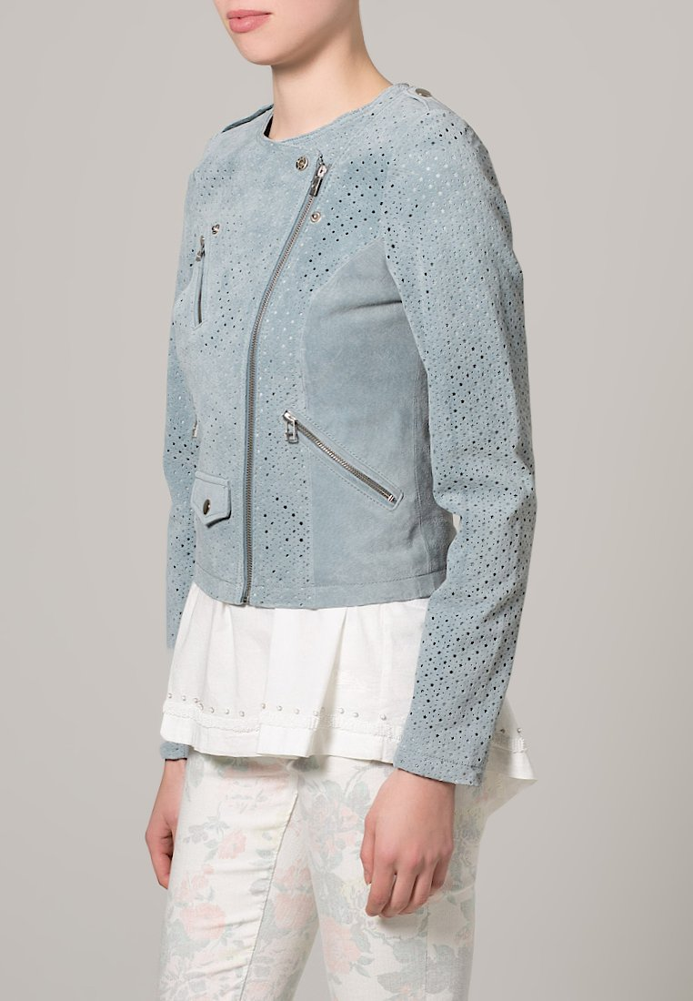 Goosecraft Lederjacke - light blue - Zalando.de