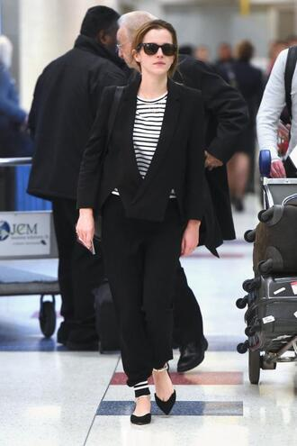 jacket pants emma watson flats striped shirt shoes