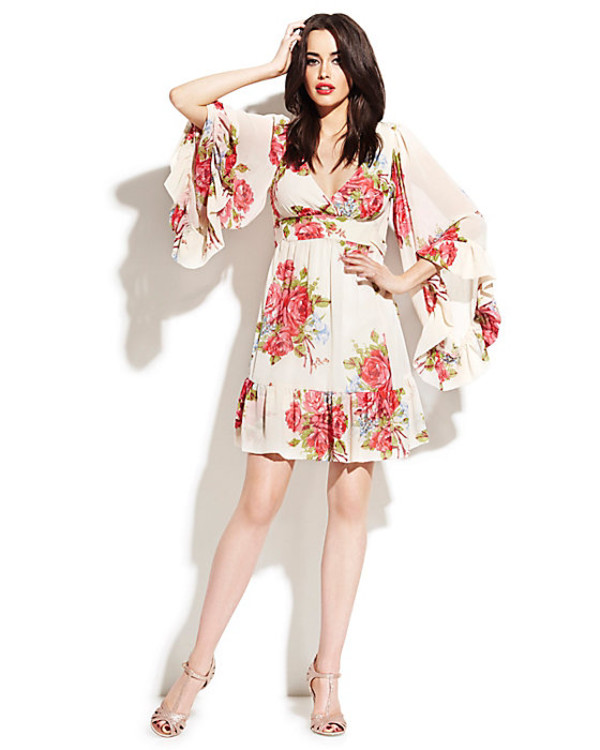dress bohemian floral bell sleeve dress