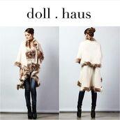 coat,outerwear,poncho,faux fur,shopdollhaus,cream,wrap coat,stylish