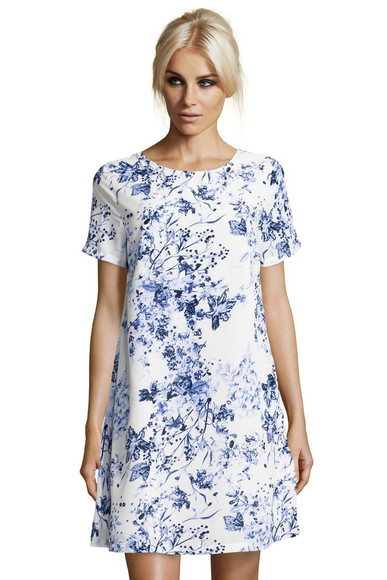 dress silk floral swing dress shift dress