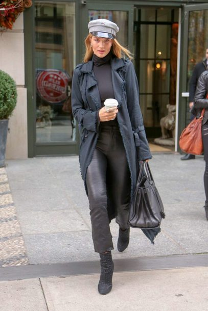 pants rosie huntington-whiteley model off-duty coat hat turtleneck fall outfits