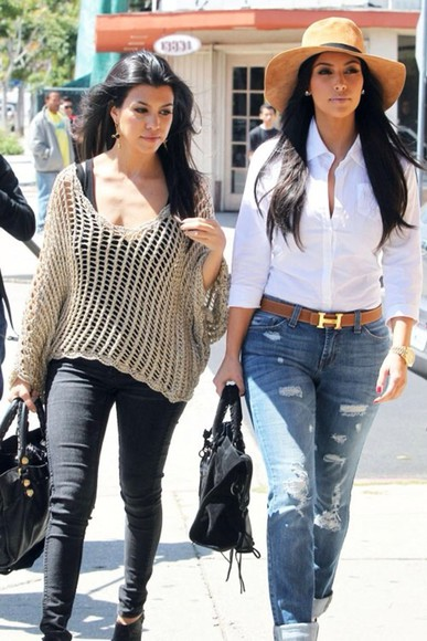 hat belt jeans kourtney kardashian kim kardashian gorgeous keeping up with the kardashians knit sweater blouse white