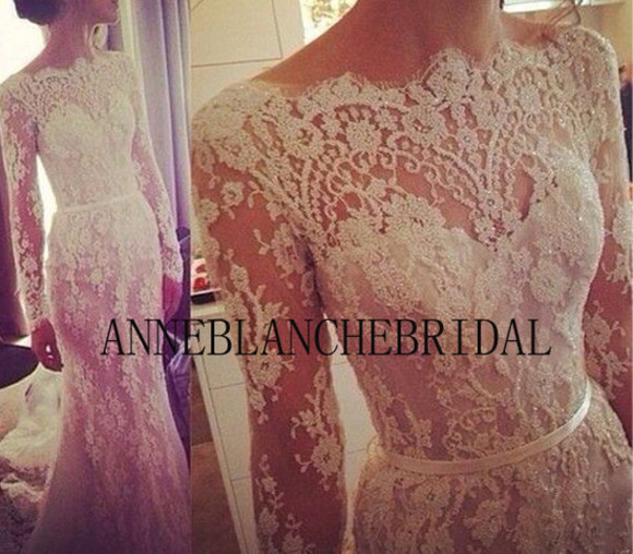 dress wedding clothes lace wedding dresses white dress sleeves lace dress