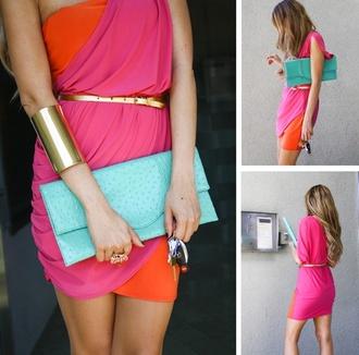 dress hot pink orange fuchsia dress colour block