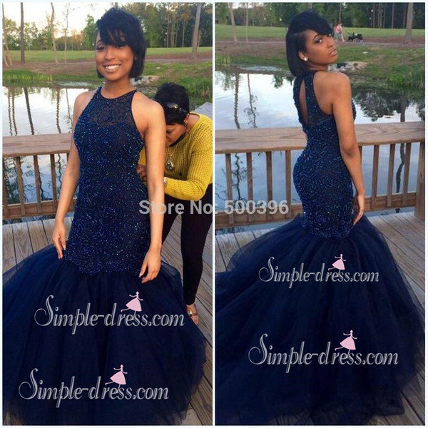 7152edf7d30 Buy Sexy navy-blue mermaid scoop sleeveless beading prom dress 2016 ...