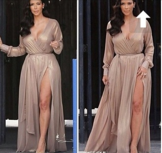 kim kardashian nude long sleeves maxi dress wrap dress maxi metallic