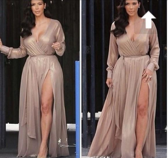 nude kimkardasian longsleeves maxi dress wrapdress maxi metallic