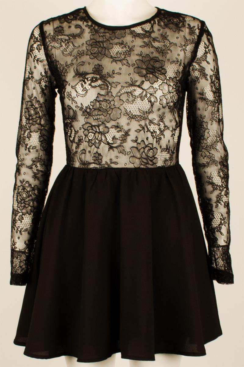 Womens Black Lace Skater Dress Long Sleeve Mini Short Highwaisted Skirt Dress | eBay
