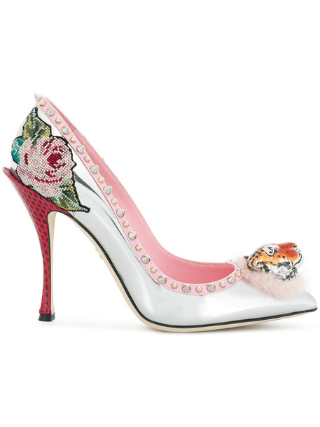 Dolce & Gabbana women tiger pumps floral leather grey metallic shoes
