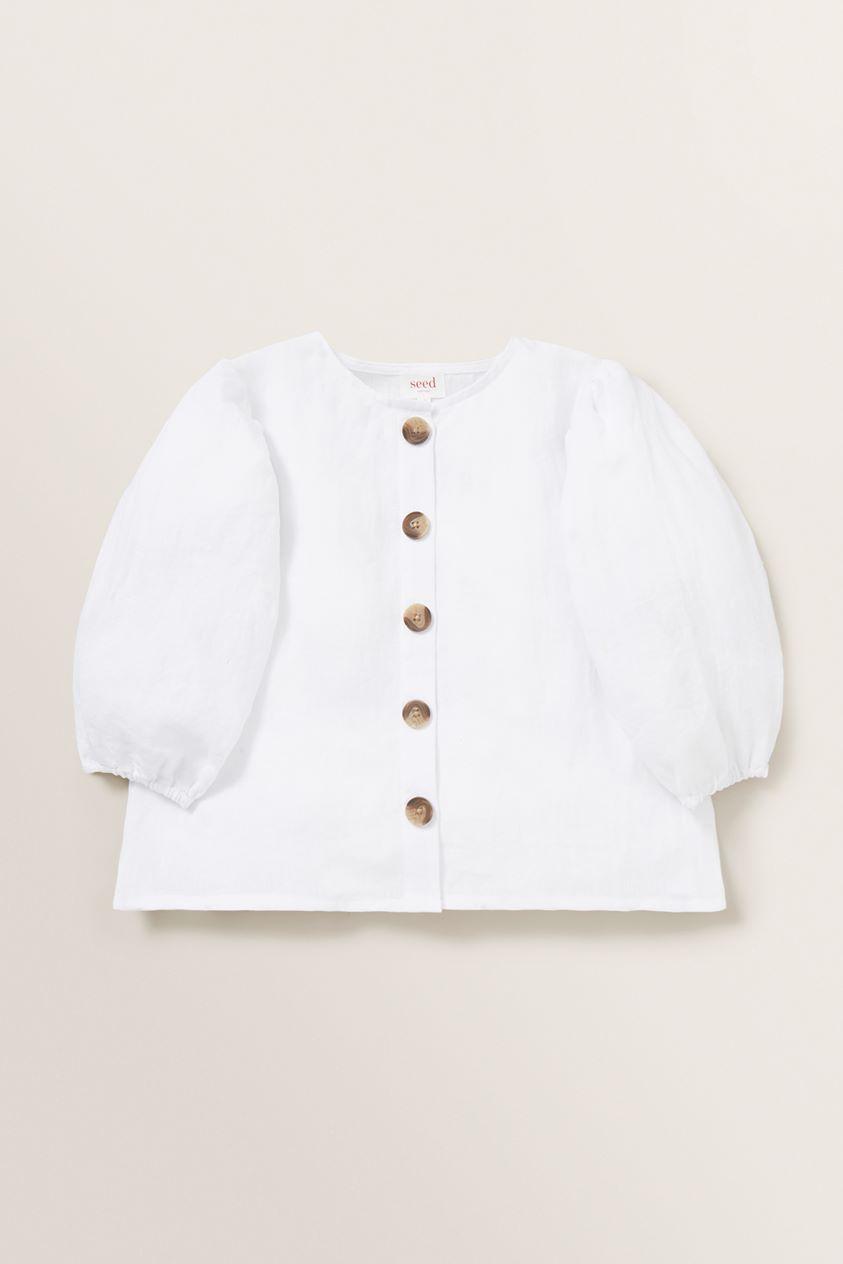 Puff Sleeve Linen Top