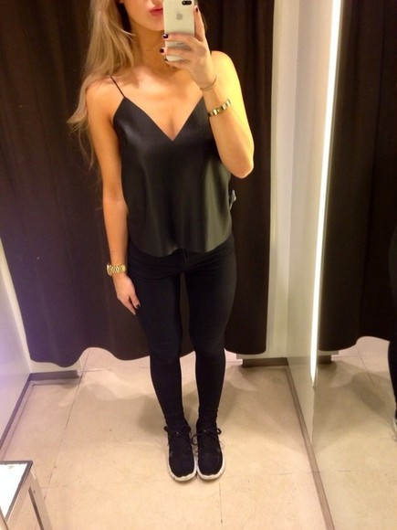 tank top black deep v neck blouse leather