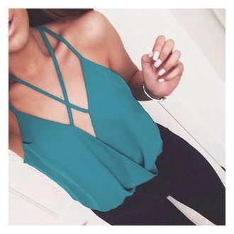 strappy criss cross teal plunge v neck party outfits sexy outfit green tank top blue lookbook store blouse top girly girl girly wishlist