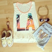 tank top,la,muscle tee,converse,cut off shorts,High waisted shorts,sneakers,round sunglasses,gold chain,fringes,high low,jewels,top