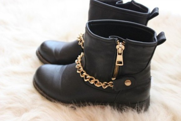 chain black shoes biker boots gold chain ankle boots boots rare