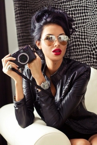 jacket black jacket red lips black suit styles sunglasses red lip stick white girl black lace lace clothing lace dress black hair lace black dresses lace black dress