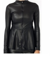 shirt,black,faux leather,leather,zip,zip-up,peplum,black peplum,black peplum top,faux leather jacket,pepl
