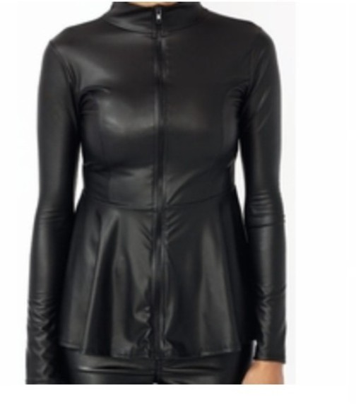 zip-up black shirt faux leather leather zipper peplum black peplum black peplum top faux leather jacket pepl