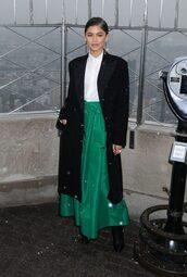 coat,green,shirt,zendaya,skirt,maxi skirt,emerald green
