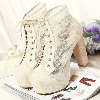 shoes white lace boots heels lace white pretty cute lovely kawaii