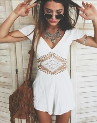 romper white white romper bag camel camel bag necklace sunglasses