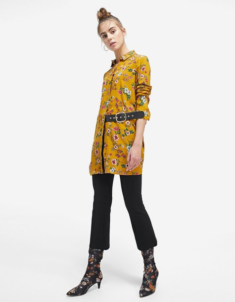 Stradivarius dress shirt dress mustard