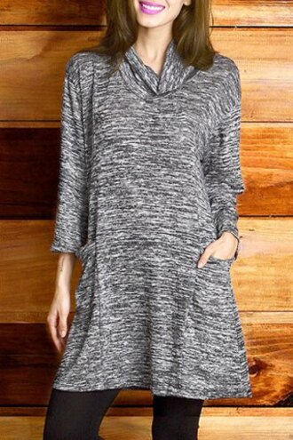 dress long sleeves turtleneck fall outfits casual cowl neck 3/4 sleeve pocket design mini dress for women casual trendy cool grey