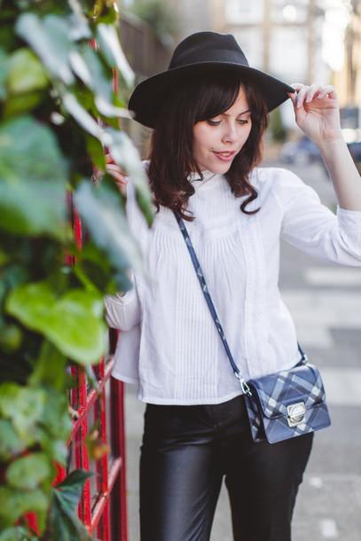 blouse leather pants fedora mini bag mini shoulder bag