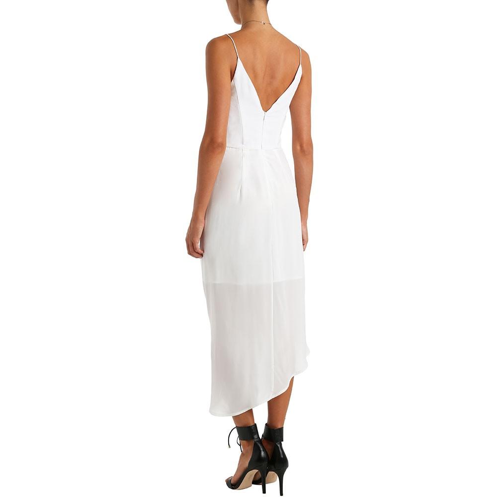 Silk plunge drape dress
