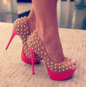 shoes,clothers,clothers shoes,shoes studs,studs,pink platform,pink heel,beige high heels,heels,high heels,gorgeous,beautiful,pretty,hot,sexy,pumps,stilettos,haute,spikes,studded,style,stylish,fashion,fashionista,pink,hot pink,girly,girl,prom,peep toe heels,pink high heels,pink dress,sexy dress,studded shoes,spiked shoes,coral pumps,pink pumps,studded pumps,coral,beige shoes