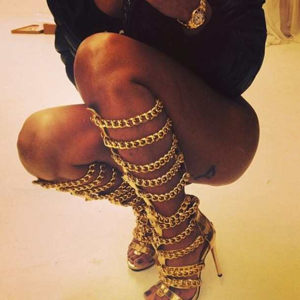 Shoes: gold, chain, golden gladiator heels, gladiators, gladiators ...
