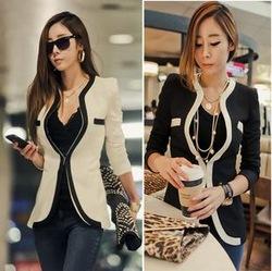 Nouvelle mode des femmes 2014 hiver, minces. blazer. manteau à manches longues occasionnels vestes, v  col dans  de  sur Aliexpress.com