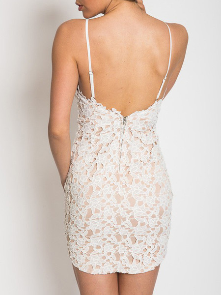 e1ddf61438 White Backless Lace Crochet Lined Cami Bodycon Dress