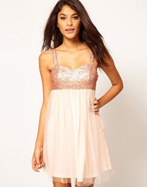 ASOS Babydoll Dress With Sequin Bust at ASOS