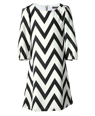 Sequin Hearts Girls Dress, Girls Zigzag Chiffon Dress - Kids - Macy's