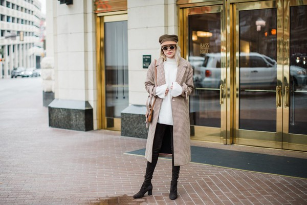 hustle and halcyon blogger hat top sunglasses bag shoes pants winter outfits fisherman cap boots white sweater