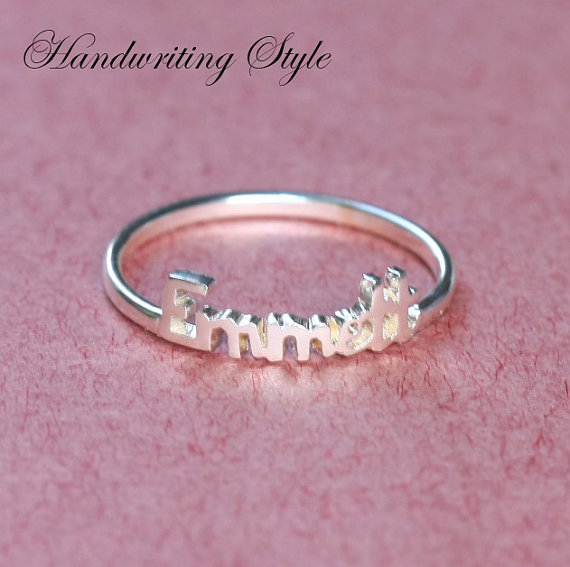 Stackble Ring  Any Initial Name Ring  Mom Gift  by Bestyle on Etsy