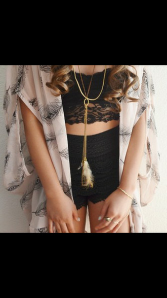blouse feathers kimono loose fit vintage hippie indie boho outfit country style