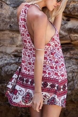 dress boho beach summer trendy spring style red pattern beautifulhalo mini dress summer dress